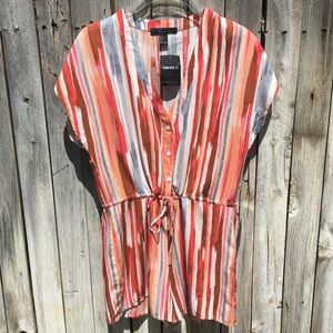 NWT Forever 21 Striped Romper Rust/Pink L
